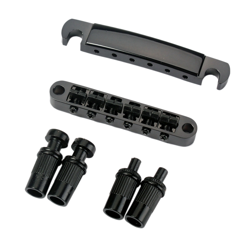 Set Of Roller Saddle Black Tune-O-Matic Bridge Tailpiece Studs For LP Electric Guitar Replacement Parts