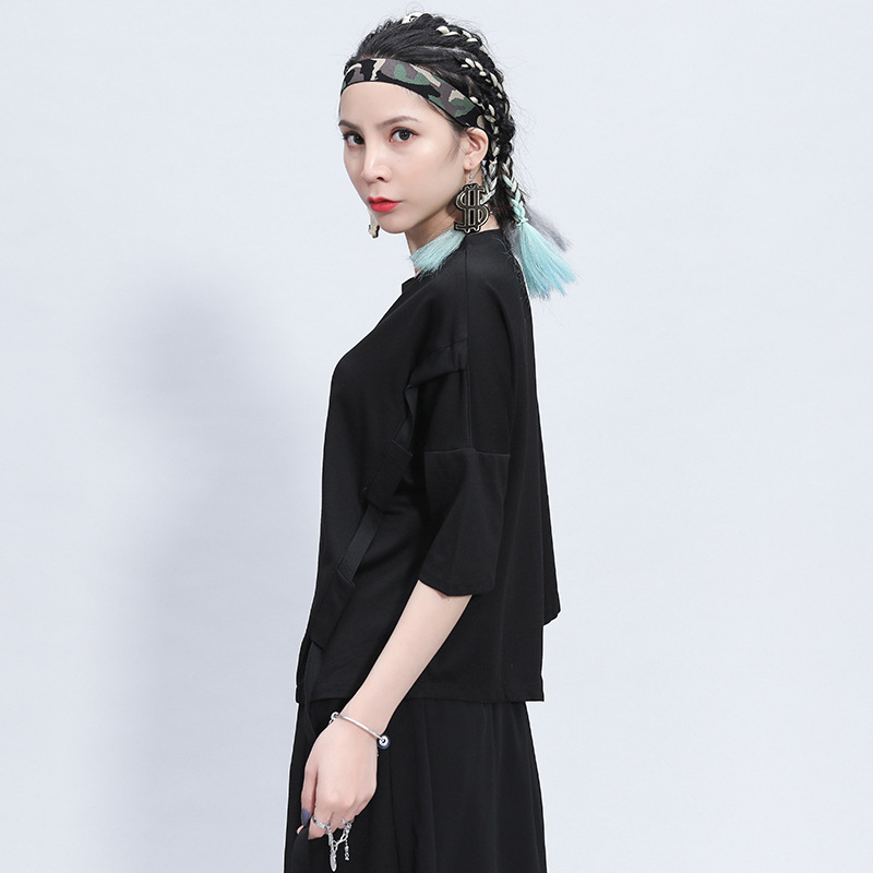 [EAM] Women Black Ribbon Split Big Size T-shirt New Round Neck Three-quarter Sleeve  Fashion Tide  Spring Summer 2020 1Z355 3
