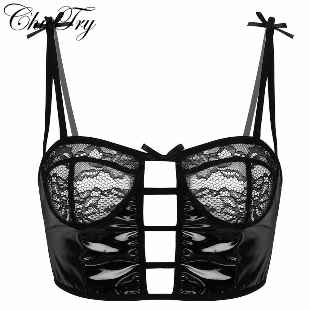 Womens Clubwear Wet Look Patent Leather Lingerie Mesh See Through Sheer Lace Floral No <font><b>Padded</b></font> Tank Top Bralette Crop Top <font><b>Shirt</b></font> image
