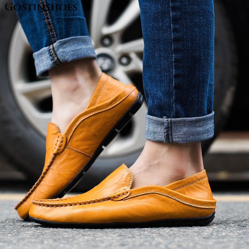 Men Shoes Casual Luxury Summer Mens Loafers Genuine Leather Moccasins Homme Slip On Zapatos Black
