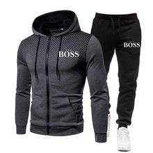 Novo sim chefe conjuntos de outono inverno dos homens com zíper hoodie + calças duas peças casual treino masculino roupas esportivas marca suor terno