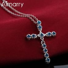 Charm Cross-Necklace Aimarry Zircon Fashion Jewelry 925-Sterling-Silver Wedding Women