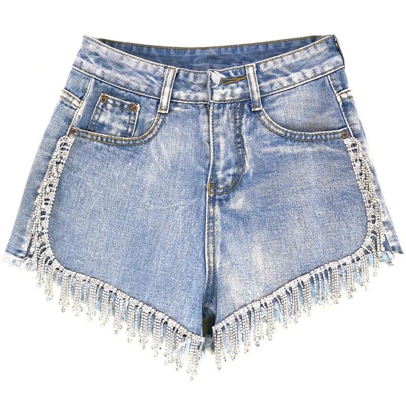 2019 Summer New Fashion Diamond Wide Leg Denim Shorts Women Heavy Work Rhinestones Tassel High Waist Jeans Shorts