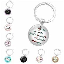 Best Selling Explosions Merci Maitresse Fashion Glass Dome Initial Key Chain High Quality Creative Chaveiro Pattern Jewelry