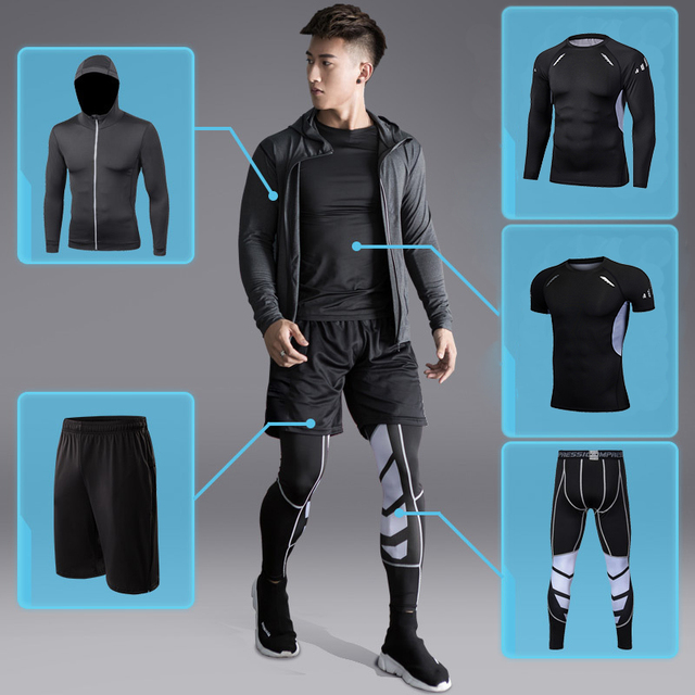 Dry Fit Men's Training Sportswear Set Gym Fitness Compression Sport Suit Jogging Tight Sports Wear Clothes 4XL5XL Oversized Male 2