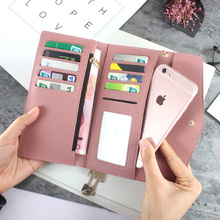 Long Leather Wallet Women Purses New Tri-fold Tassel Ladies PU Purse Heart-shaped Pendant Clutch Card Holder Phone Bag