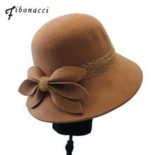 Vintage Cloche Wool Felt Hat With Bowknot Wide Brim Bowler W