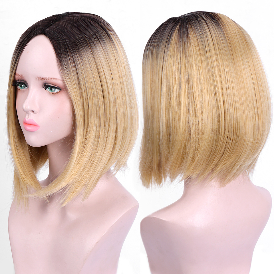 Ombre Blonde Brownish Black Roots Short Bob Wigs Side Part  Wigs For Women Heat Resistant Synthetic Full Straight Wigs