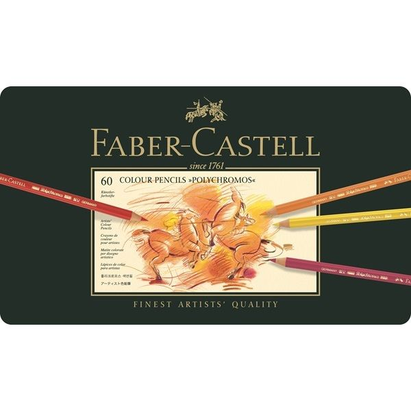 FABER CASTELL Polychromos Artist Quality Color Pencils 60 Set Tin Case