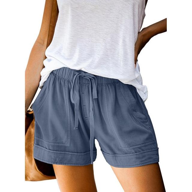 12 Colors Casual Women Short Pants Simple Drawstring Pockets Summer Elastic Waist Loose Home Fashion Streetwear Ladies Pant 6