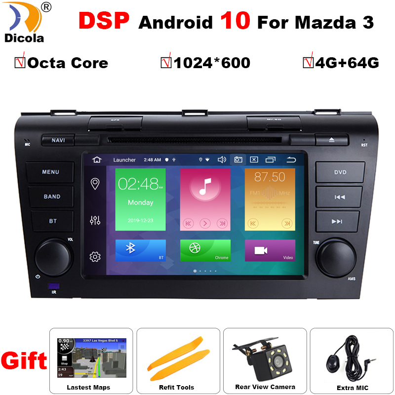 Octa Core Android 10 DSP For <font><b>MAZDA</b></font> <font><b>3</b></font> 2004-2009 Car Monitor DVD Player Navigation GPS Radio <font><b>2DIN</b></font> 1024*600 RDS WIFI BT CANBUS SWC image