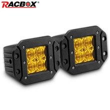2 uds. De lámpara de conducción LED cuadrada 5D de 5 pulgadas, foco reflector, doble fila, luz de trabajo fuera de carretera para Jeep 4x4, camión todoterreno de 12V