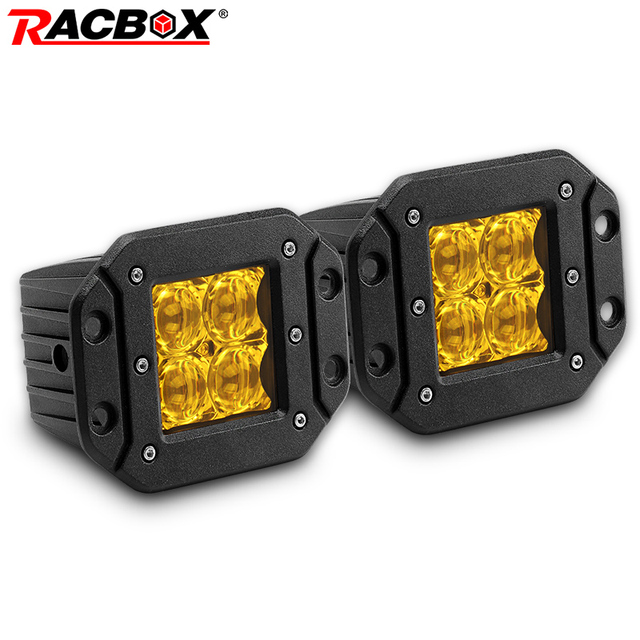 2Pcs 5 Inch Flush Mount 5D Square LED Driving lamp flood spot Beam Doul Row OffRoad Work Light for Jeep 4x4 offroad truck 12V