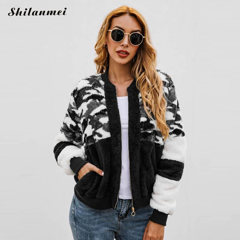 Women Fleece   Jacket   Camouflage Casual   Basic     Jacket   Women 2019 Autumn Winter Warm Plush Coat Zipper Streetwear Punk   Jacket   Coat