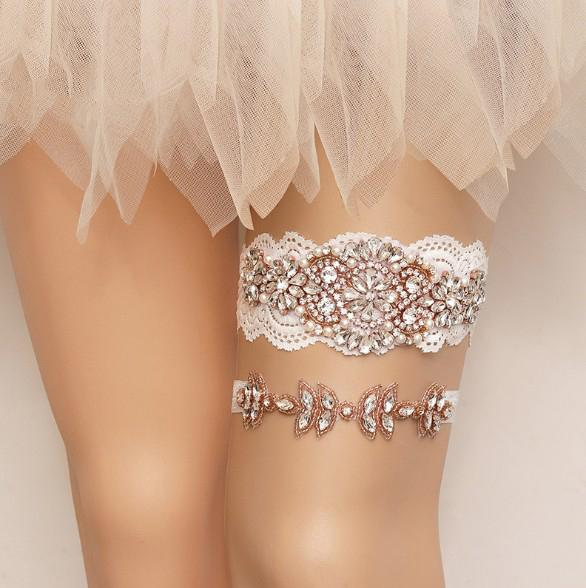 Vintage Wedding Garter Pearl Rhinestones Leg Ring Sexy Garters Rose Gold Colour Thigh Ring Bridal Accessories Bride Jewelry M238