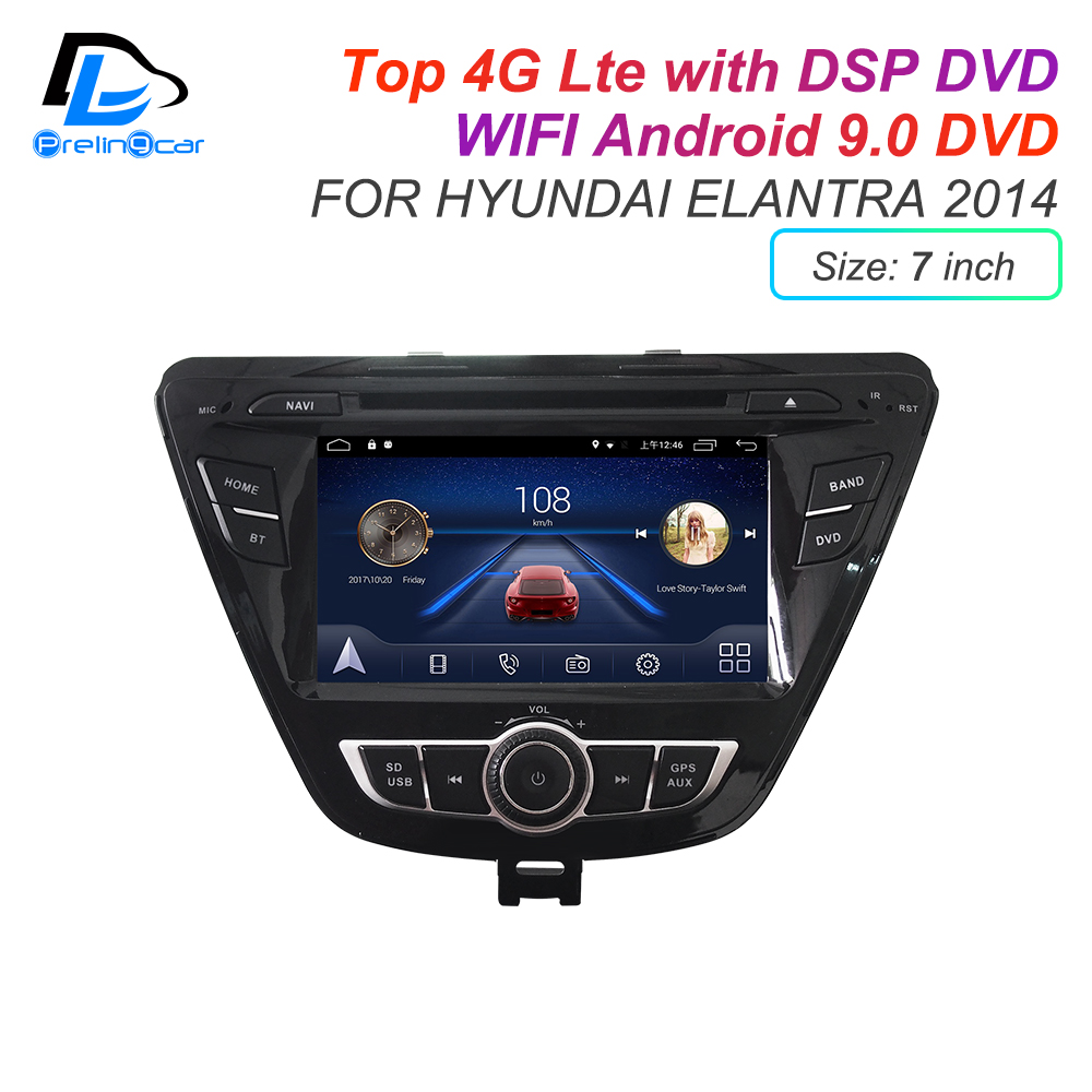 IPS screen DSP sound Android 9.0 2 DIN 4g Lte radio For <font><b>hyundai</b></font> <font><b>elantra</b></font> <font><b>2008</b></font> 2011 2014 years GPS <font><b>DVD</b></font> <font><b>player</b></font> stereo navigation image