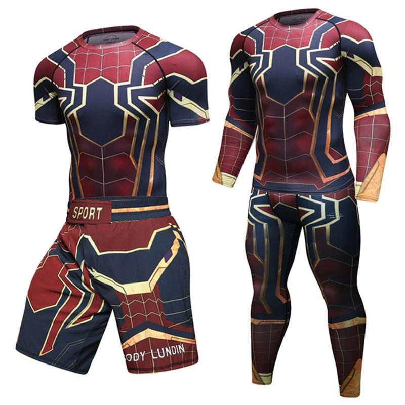 Compression Spider Man T Shirts Fitness Pants Men Mma Boxing Muay Thai Shorts Rashguard Jiu Jitsu Kickboxing Gym Sets Jerseys