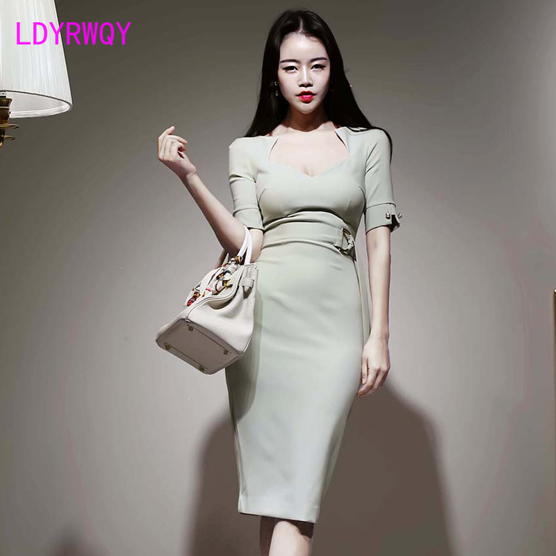 2020 summer new Korean women's sexy square collar waist tie slim slim split hip dress Knee-Length  Sheath