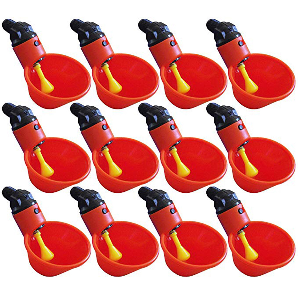 12Pcs Automatic Bird Coop Feed Poultry Water Drinking Cups Chicken Fowl Drinker Chook Bowl Red Cup#s