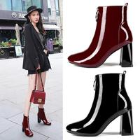 2019 spring boots fashion boots short tube thick high heel 6cm leather comfortable basic women's shoes short plush Keep warm