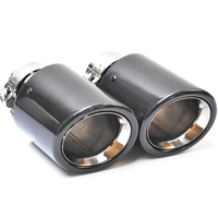 1 PC Rear car muffler tip special bevel end carbon glossy fiber exhaust tips with A logo for E90