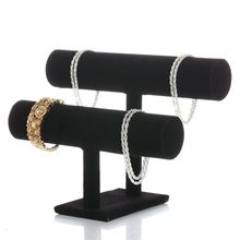 2 Tiers Black Velvet Hovering T-Bar Bracelet Necklace Jewelry Display Stand T4MD