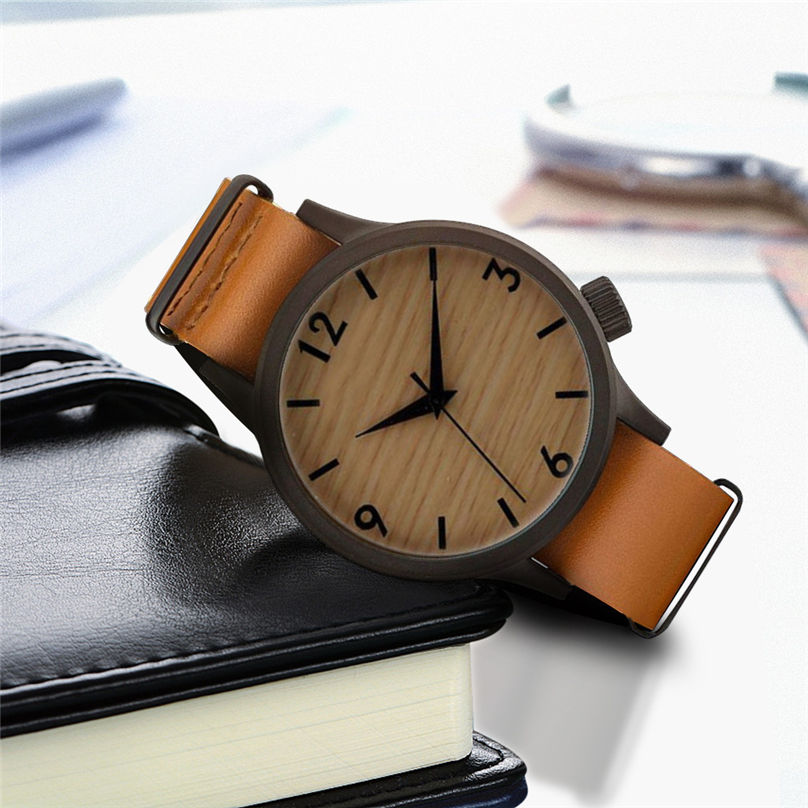 New Casual Fashion Wooden Watch Men`s And Women` Bamboo Men Leather Watches 3N25 (10)