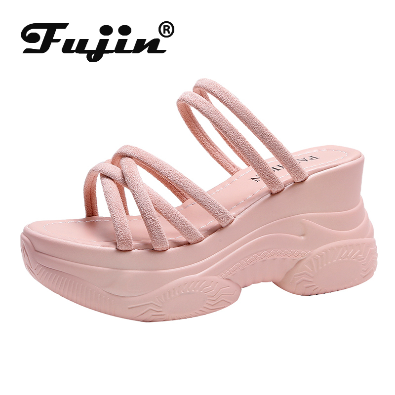 Fujin Women Sandals 2020 Summer Fashion Breathable Wedges Comfortable Slip on Round Toe Thick Bottom Causal Platform Women Shoes