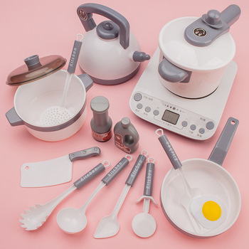 Simulation Plastic Foods Cookware Pot Pan Children Kitchen Toys Stickers Pretend Play Miniature Play Food For Girls Doll Food