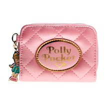 Polly pocket pink quilted women wallets Female coins purse d