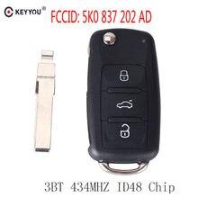 مفتاح بعيد KEYYOU 434MHz ID48 رقاقة ل VW Volkswagen جولف باسات تيجوان بولو جيتا بيتل سيارة بدون مفتاح 5K0 837 202AD 5K0837202AD