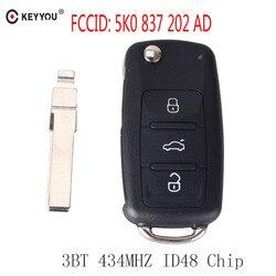 KEYYOU Remote key 434MHz ID48 Chip for VW Volkswagen GOLF PASSAT Tiguan Polo Jetta Beetle Car Keyless 5K0 837 202AD 5K0837202AD