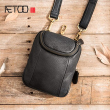 AETOO Casual Mens Messenger Bag Mens Mini Shoulder Small Bag Leather Retro Phone Bag Leather Multifunction Waist Bag