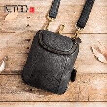 Aetoo カジュアル男性のメッセンジャーバッグ男性のミニショルダー小バッグ革レトロ電話バッグ革多機能ウエストバッグ
