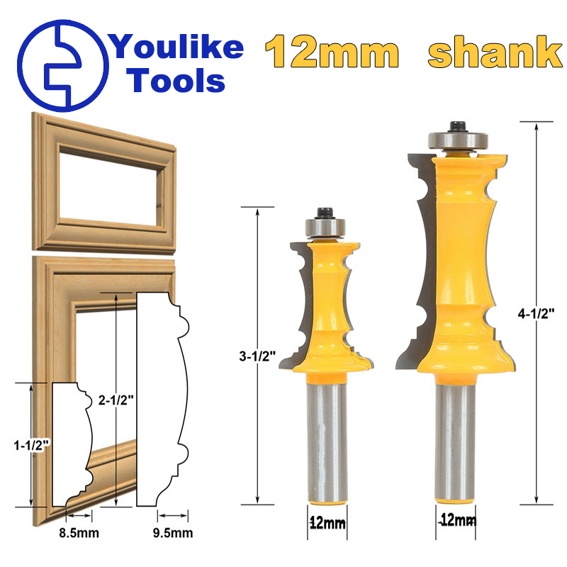 1 or 2PCS 12mm   Shank Miter Frame Molding Router Bit Line knife Door knife Tenon Cutter for wood Woodworking Tools mill cutlter