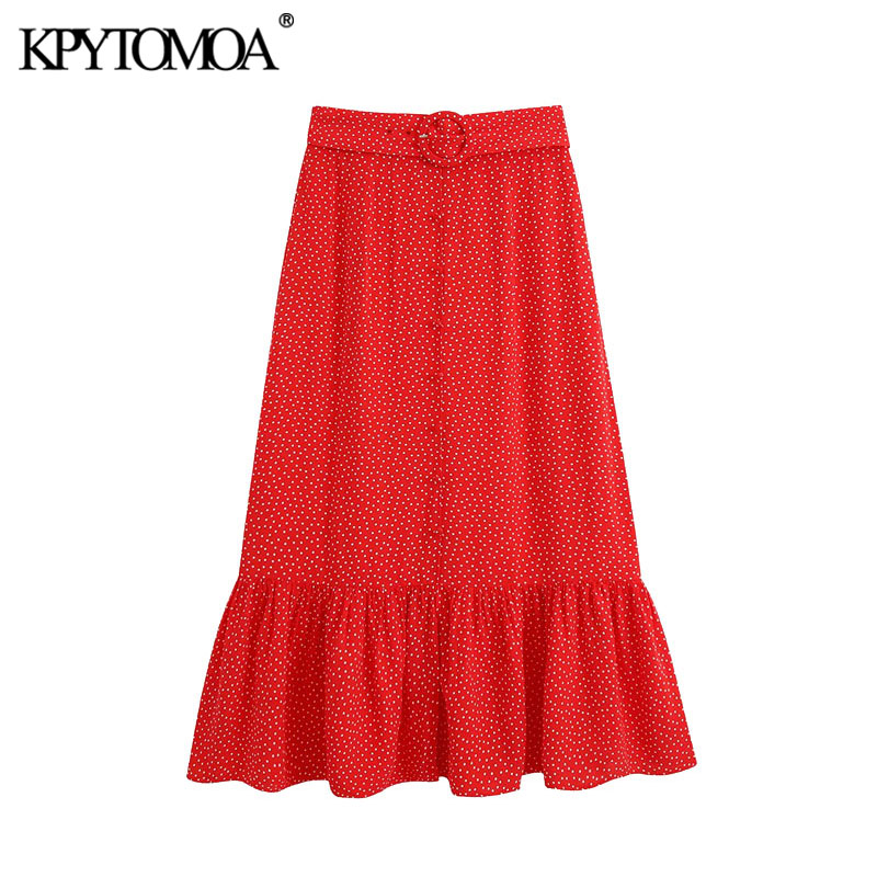 KPYTOMOA Women 2020 Chic Fashion Polka Dot Ruffed Midi Skirt Vintage High Waist With Belt Front Slit Female Skirts Faldas Mujer