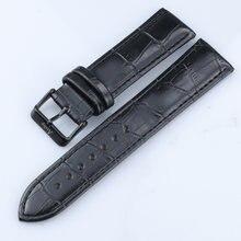 Ремешок из натуральной кожи 22 мм черный ремешок для часов нержавеющей