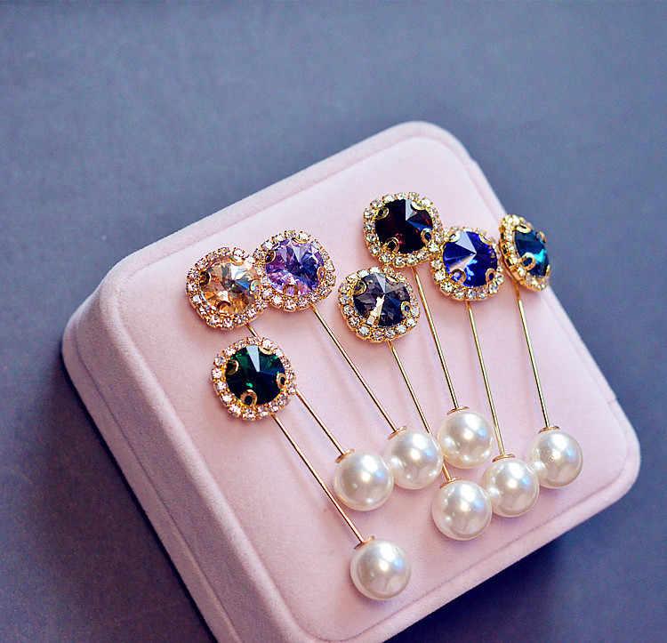 Tren Hati Kristal Rhinestone Bros Pin Ganda Kepala Simulasi Mutiara Bros untuk Wanita Pernikahan Perhiasan Grosir Aksesoris