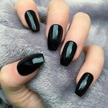 24 шт глянцевые черные искусственные гвозди накладные ногти