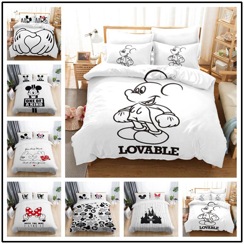 Disney Mickey Minnie Perfect Match Cotton Bedding Double Duvet Cover 4pcs Set
