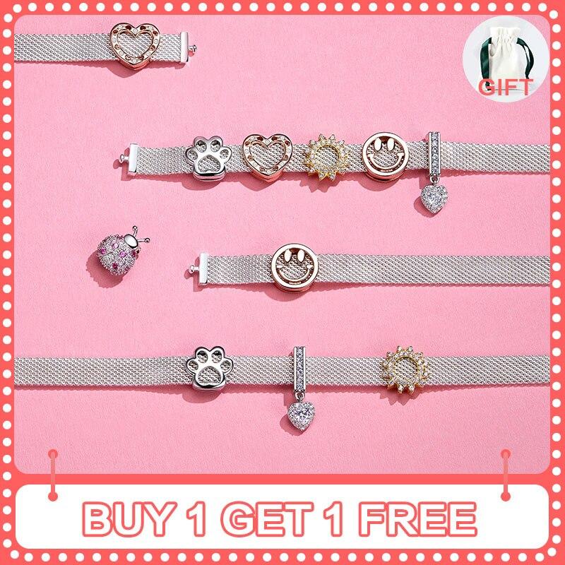 Bamoer 10 estilos auténtico encanto de Plata de Ley 925 para pulseras reflexivas accesorios de joyería DIY regalos para niña
