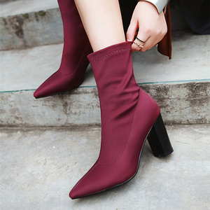 Image 2 - Womens Boots Pointed Toe Yarn Elastic Ankle Boots Thick Heel High Heels Shoes Woman Female Socks Boots 2019 Spring Size 34 43