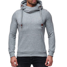 2019 New Autumn&Winter Men Solid Pure Thick Hooded Cotton Sweatshirt High Collar Slim Fit Fashion Casual Sudadera Hombre Hoodies(China)