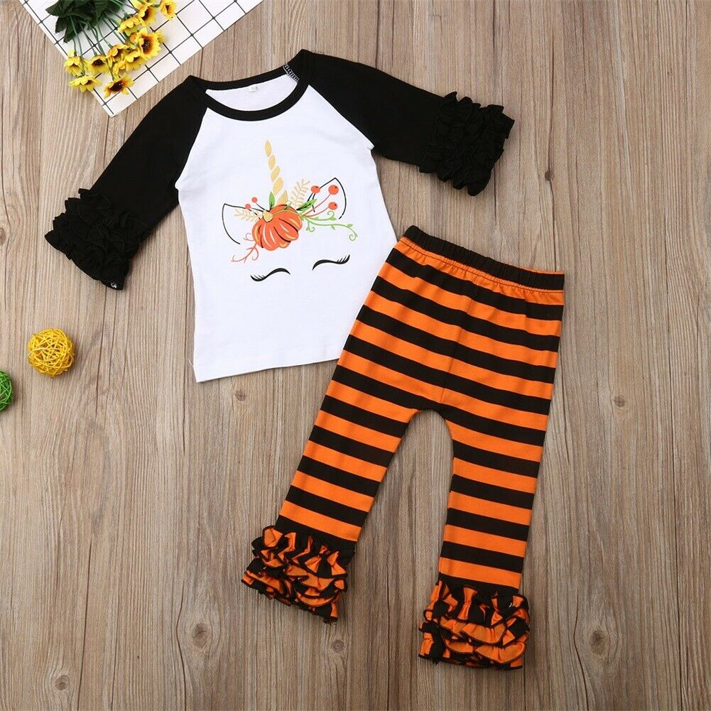 Dress Pants Outfits-Set Toddler Baby-Girl Kids T-Shirt Tops Striped 1-6Y 2PCS