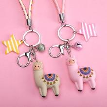 Fashion Epoxy Three-dimensional Cute Alpaca Keychain Doll Creative Cartoon Little Sheep Bag Pendant Jewelry Small Gift Women