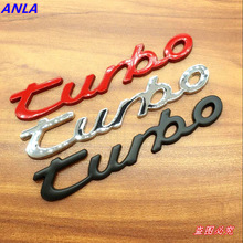 TURBO Emblem Logo Letters Bar Chrome Metal Zinc Car Styling Refitting Fender Trunk 3D Sticker for Cruze Geely BMW Benz Audi VW