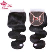 Kraliçe saç ürünleri dantel kapatma ücretsiz bölüm 5x5 brezilyalı bakire saç vücut dalga % 100% İnsan saç doğal renk büyük boy kapatma
