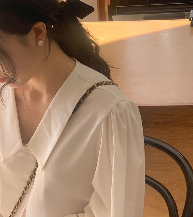 H3184e6144953483c85f9107e67b93a5dr - Spring / Autumn Chelsea Collar Long Sleeves Solid Blouse
