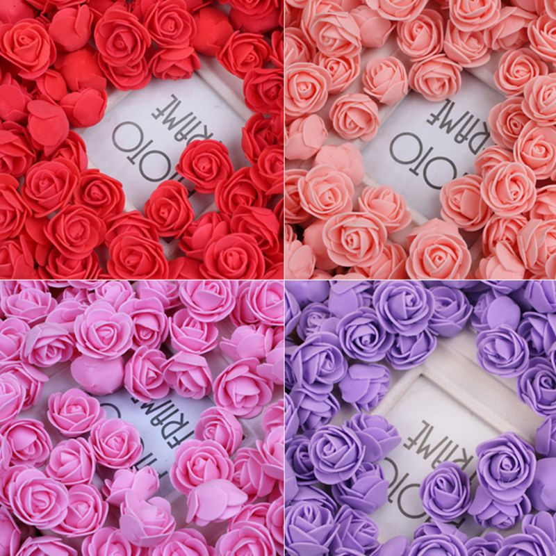 144Pcs/Pack 2cm Mini PE Foam Artificial Rose Flower Head For DIY Craft Wreath Wedding Bouquet Scrapbooking Party Home Decoration
