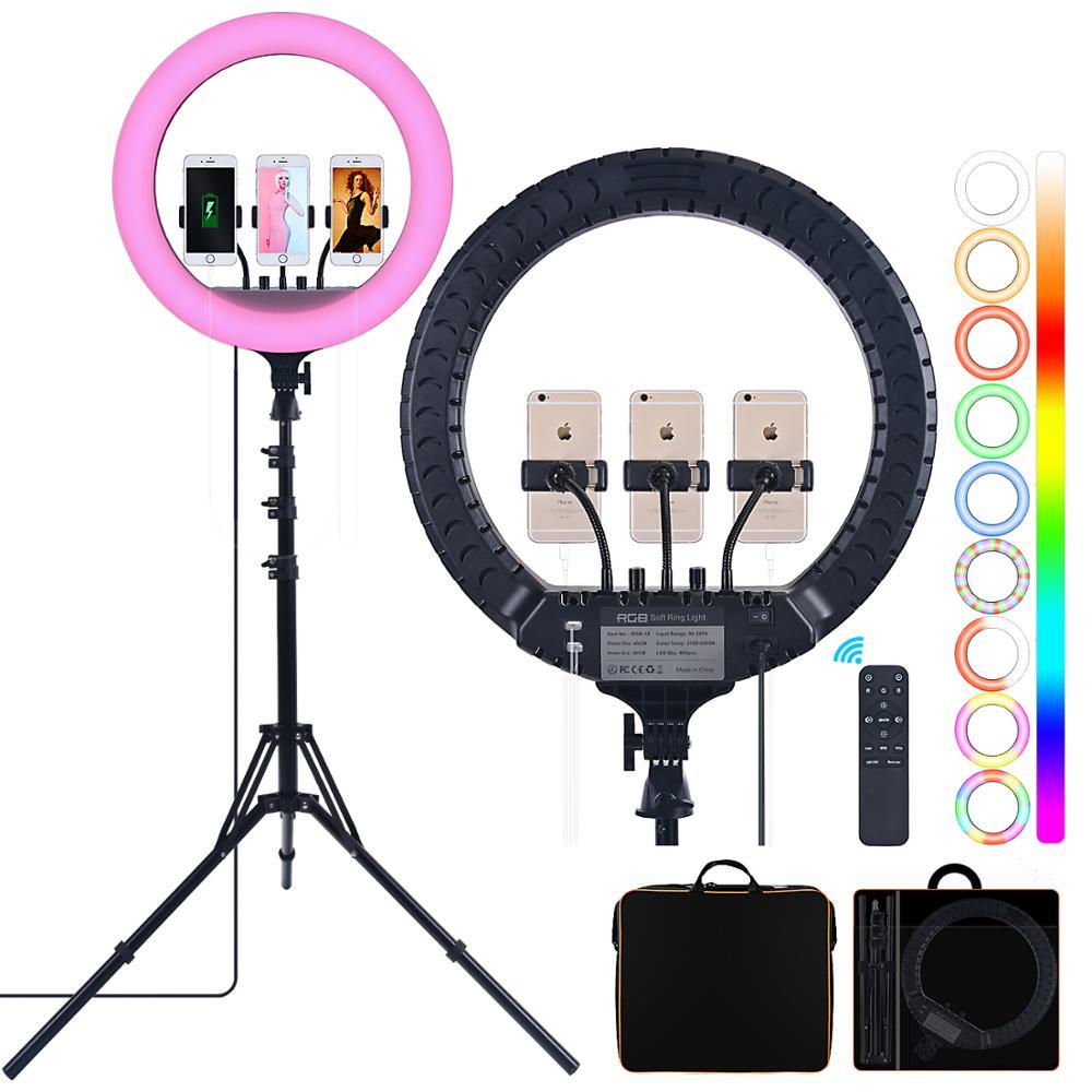 FOSOTO 18 pouces Led RGB lumière annulaire éclairage photographique 2700-6500K anneau lampe avec trépied et Port USB Ringlight pour téléphone maquillage